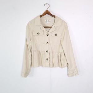 Miami Ruffle Hem Linen Button Up Jacket